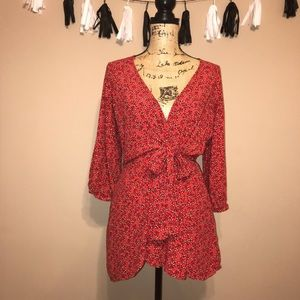 Free People Red Front Tie Side Pockets Dress